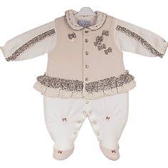 Macacão Bebê Menina Oncinha com Colete Bege - Beth Bebê :: 764 Kids | Roupa bebê e infantil