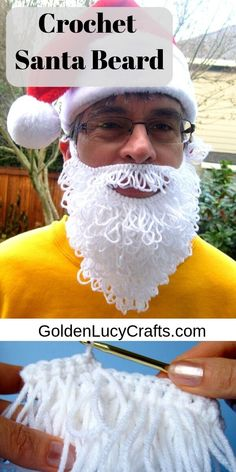 How to crochet Santa Beard free crochet pattern with step by step pictures. DIY Santa beard how to make a Santa beard crochet Christmas crochet crafts crocheting holiday crochet Crochet Beard Hat, Knitted Beard, Crochet Santa Hat, Crochet Christmas Hats, Christmas Crochet Patterns, Holiday Crochet, Crochet Angels, Crochet Ornaments, Crochet Snowflakes