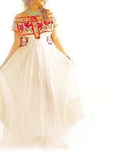 Juquila Birds Ethnic Mexican romantic ruffled embroideres Maxi wedding dress by Aida Coronado