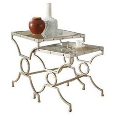 Champlain 2 Piece Nesting Table Set in Silver