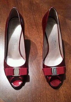 $595 size 9B Salvatore Ferragamo Pola Peep Toe Dark Red Patent Leather Pumps