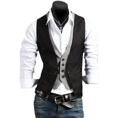 Men's Casual Fashion V-neck Double Layered Fit Vest Waistcoat Slim... ($11) ❤ liked on Polyvore featuring men's fashion, men's clothing, men's outerwear, men's vests, mens vest, mens slim fit vest, mens double layered vest, mens waistcoat and mens slim fit outerwear
