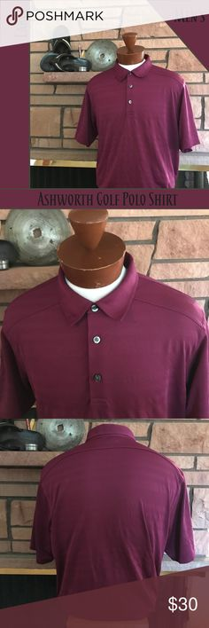 Ashworth Golf Polo Shirt Mens Purple Large Make a statement on the course with this classic polo shirt by Ashworth.   From a smoke-free and happy-to-bundle closet.  No trades or transactions outside of Poshmark. [T458] Ashworth Shirts Polos