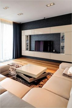 Paying attention to the details of the design is essential in creating a luxury living room interior. Living Room Tv Unit Designs, Living Room Wall Units, Living Room Sofa, Home Living Room, Interior Design Living Room, Living Room Decor, Luxury Sofa, Luxury Interior, Luxury Living