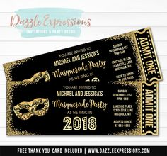 Printable Black and Gold Glitter Masquerade Party New Years Eve Ticket Invitation | Elegant NYE Party | Black Tie Affair | Mask | Food Labels | Banner | Signs | Party Decor