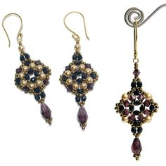 Tuscan Drop Earrings Pattern at Sova-Enterprises.com Lots of Free Bead Patterns and Tutorials are available!