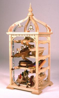 Bell tower marble machine woodworking plans, marble roll, marble game, free plans