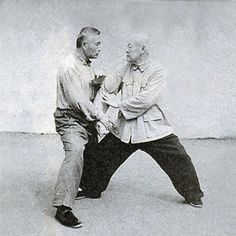 Li Ya Xuan (1894 -1976), who was a top disciple of Yang Cheng Fu, practices da lu with a student.  Do you include this in your practice of Tai Chi Chuan?
