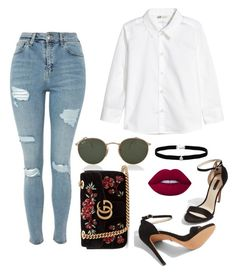 Inspiration for Shopping / Look para shopping / Lidya Martin style / Hanna marin style / by camibg on Polyvore featuring polyvore fashion style Topshop Gucci Amanda Rose Collection Ray-Ban Lime Crime clothing