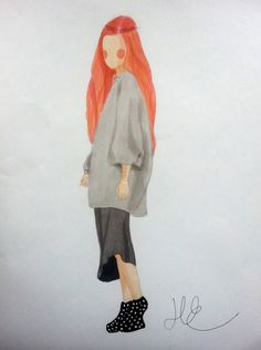 Shade of Fashiion - Ulrikke Lund drawing illustration with promarkers #ulrikkelund #art #drawing #girl #fashion #fashiondrawing #sketch #promarkers #fashionillustration #redhair #inspiration