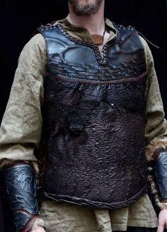 One-of-a-kind Leather armor viking inspired jacket por OniricVault