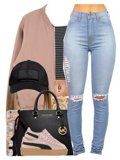 A fashion look from December 2015 featuring Topshop tops, Puma sneakers and MICHAEL Michael Kors handbags. Browse and shop related looks. Lit Outfits, Dope Outfits, Outfits For Teens, Casual Outfits, Girly Outfits, Urban Fashion, Teen Fashion, Fashion Outfits, Fashion Women
