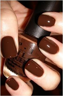 dark chocolate brown nails...  @Karen Jacot Jacot Thrasher is this where you got the idea?  I <3 O.P.I.