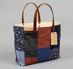 TH-S  CO. TOTE BAG WITH LEATHER HANDLES, PATCHWORK #4 :: HICKOREE'S