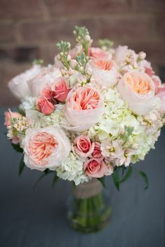 Light pink + cream spring wedding bouquet idea - garden roses + hydrangeas {Rachael Foster Photography}