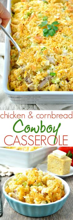 Full of delicious down-home ingredients, this Chicken & Cornbread Cowboy Casserole is an easy one-dish meal that's perfect for potlucks, freezer cooking, and weeknight dinners!