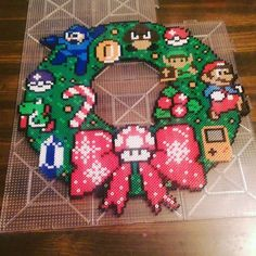 Video game Christmas wreath perler beads by tiffyiffffy