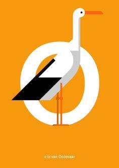 Ooievaar print. Nederlands Vogel Alfabet print: O is van door Guuske