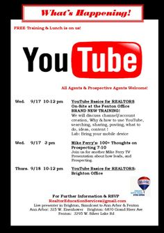 This week !  Let's learn more about YouTube and real estate!  Fun, Learning & Lunch!  Join us!