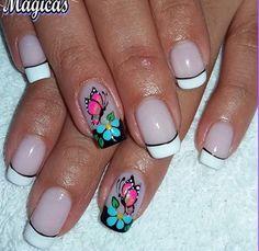 Decoración de uñas French Manicure Nails, Floral Nail Art, Beautiful Nail Art, Mani Pedi, Nail Arts, Toe Nails, Finger, Nail Designs, Nail Polish