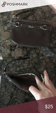 leather coach wristlet Super cute for going out! Gently worn a few times  but looks brand new Coach Bags Clutches & Wristlets