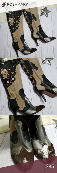 Sam Edelman June boots floral embroidery pony tan Unique Sam Edelman boots, June style. Very hard to find.  Tan suede, metallic silver and black smooth leather with patches of brown pony leather. The pony has a distressed/destroyed look to it with silver poking through. Tons of yellow, pink, and brown embroidery flowers. Gray velvet corset style decorative lacing. Zipper sides. Silver interiors.  Bought secondhand but my calves are too wide 😭 Good, clean condition. Small sole separation on…
