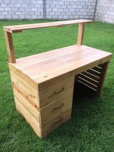 Pallet Computer Desk with Shelf and Drawers   99 Pallets