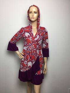 Anthropologie By Lilka Wrap Robe Hoodie White Orange & Purple Hem Dress Small    eBay