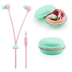 """- Dimensions: 4' long cables, case 2.5"""" diameter - Comfortable soft ear gels help isolate your ears and block out external noise while listening to music - Function: Noise Cancelling and Microphone Looking for a sweet addition to your headphone collection? Do you need a solid but cute pair of headphones? These Macaron Earphones are perfect for you :). Coated with soft rubber, these awesome headphones are soft to the touch. The flat style of wiring helps prevent messy tangles, as well as the…"""
