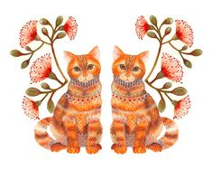 Arte animal gatos par Imprimir Lacy gemelos por por TevaKiwi