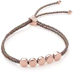 Monica Vinader Rose Gold Vermeil Linear Bead Friendship Bracelet -... ($160) ❤ liked on Polyvore featuring jewelry, bracelets, beads jewellery, rose bangle, braid jewelry, letter jewelry and adjustable bangles