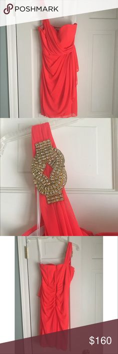 Coral Cocktail Dress Worn once to a formal! Gorgeous color Dresses One Shoulder