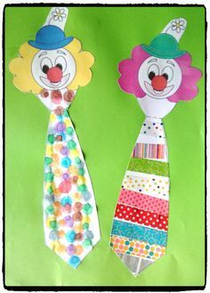 clown cravate, bricolage carnaval, cirque, enfant