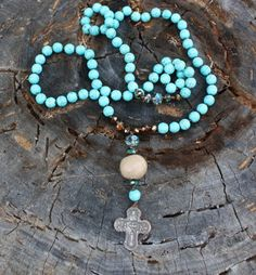 Turquoise Crystals Antique Cross  Columbian Bead Strung on Silk