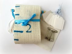 Watch Me Grow--Turquoise--Personalizable Portable Burlap Growth Chart in Keepsake Bag--