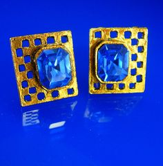 Vintage Blue Rhinestone Cufflinks gold by NeatstuffAntiques