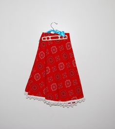 Vintage Tablecloth Red Round with Pom Poms by CheekyVintageCloset, $18.00