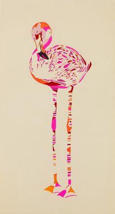 Garland Flamingo Limited Edition Art Print by Chloe Croft London