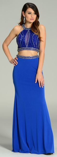 Formal Halter 2 Piece Gown Royal Blue #discountdressshop #formal #halter #twopiecegown #promgown Two Piece Gown, Two Piece Skirt Set, Royal Blue Dresses, Bodice, Gowns, Formal, Skirts, Fashion, Vestidos