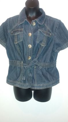 Venezia Jeans Lane Bryant Denim Top Blouse Jacket Long Short sleeve 22 24 26 28