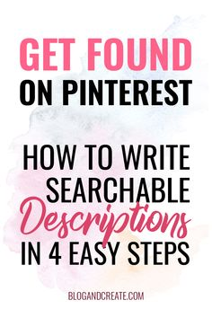 Step by step video tutorial on how to use Pinterest SEO as a blogger or online business owner. Pinterest is a search engine, not social media, and the best way to get through to your followers is through your descriptions. Learn this simple marketing strategy to increase views on pins for your blog posts or products and the tools to make it easier to implement. | Find more Pinterest tips for beginners at blogandcreate.com | #BlogAndCreate #PinterestTips #BloggingTips #pinterestmarketing