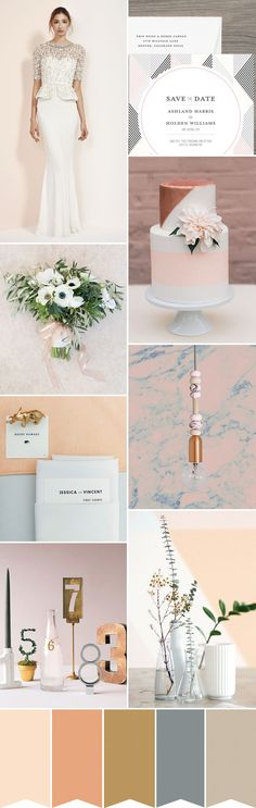 Bringing pretty and industrial together - this copper, gold, and blush wedding colour palette is the perfect wedding colour scheme for anyone planning a wedding in a warehouse or industrial space | www.onefabday.com