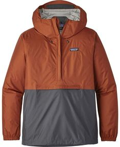 Sleek, simple and packable, our trusted Patagonia Men's Torrentshell Pullover takes a responsible step forward with a recycled nylon face. Patagonia Pullover, Pullover Windbreaker, Patagonia Brand, Pullover Rain Jacket, Outdoor Fashion, Outdoor Clothing, Men Hiking, Outdoor Outfit, Gray