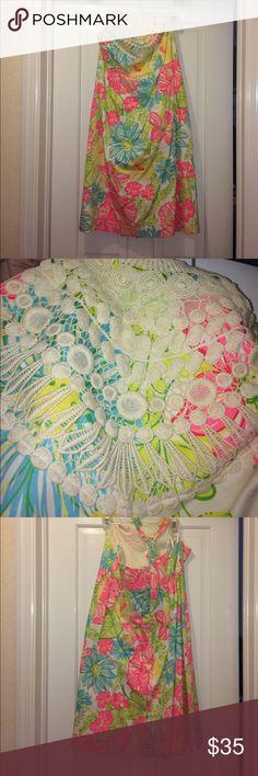 Lilly Pulitzer dress Lilly Pulitzer halter dress with lace work. rarely worn!! Lilly Pulitzer Dresses