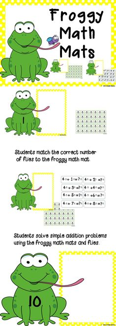 Froggy math mats! Students match the correct number of flies on the math mats 1-20. 80 simple addition cards for students to solve using the math mats and flies. Small black and white math mats for students to make their own.