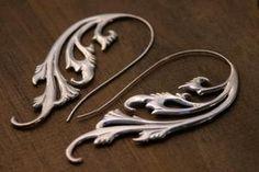 Art Nouveau Statement Earrings Silver - TheBlissfulCo