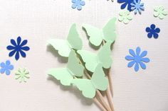 24 Mint Butterfly Cupcake Toppers, Party Decor, Weddings, Showers, Birthdays, Spring, Summer, Nature - pinned by pin4etsy.com