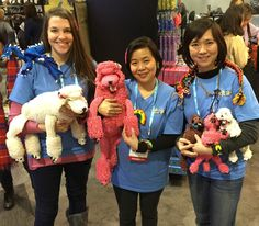 Rainbow Loom Poodles family, Chinese Dragon, Saphira from the Eragon (on Nicole's shoulder). at New York Toy Fair, Feb 2015