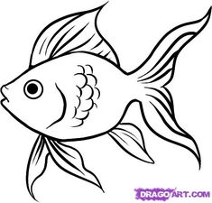 How to draw a goldfish step by step - Hundreds of great drawing tuts on this site