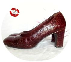 Vintage 60s Brown Reptile Skin High Heel BabyDoll Pumps 7.5 Crocodile LucalSax MOD Pin-Up by IntrigueU4Ever on Etsy, $45.00
